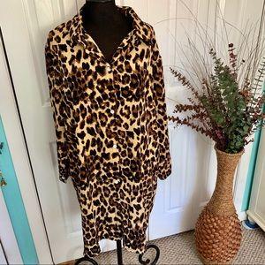 Yang Yang | Cheetah Print Button Down Shirt Dress